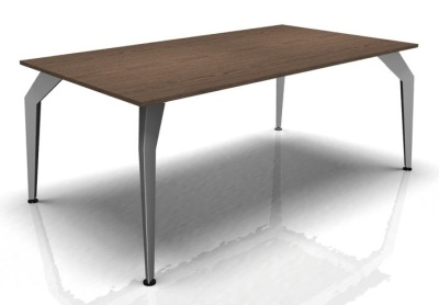 Acti Executive Desk Walnut Top And Aluminium Frame