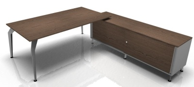 Acti Rectangular Walnut Desk And Supporting Credenza