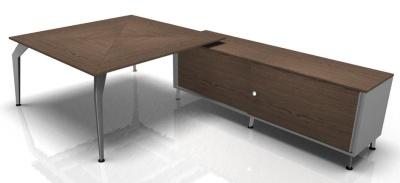 Square Desk With Return Walnut