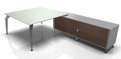 Acti Square Glass Desk Enamel Gloss Finish Walnut Credenza