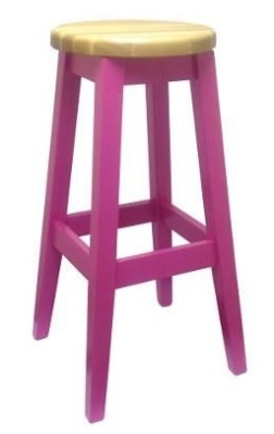 Deli Wooden High Sool Pink With A Natural Seat