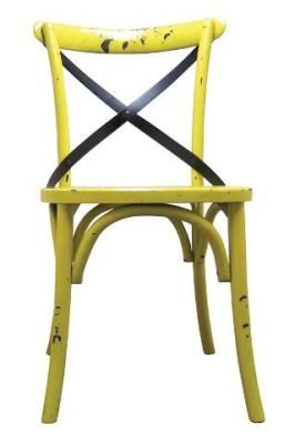 Trieste Wooden Side Chairs Distressed Yellow Finish