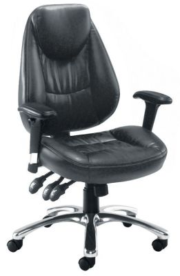 Cairo Black Faux Leather Operator Chair With Extra Large Seat And Back