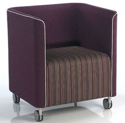 Asis Square Tub Chair In Aubergine Fabric With Stripy Upholstered Seat And Castors