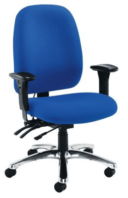 Postair Deluxe 24 Hour Use Operator Chair In Blue Upholstery With Chrome Base And Castors