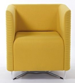 Asis Yellow Square Tub Chair With Chrome Wire Frame Base