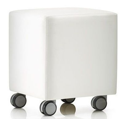 Mobile Mojo White Upholstered Seat In Four Castors With Wooden Frame