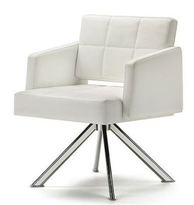 Xross Contemporary White Reception Chair With Tubular Steel Base, White Fabric With Stitch Detail
