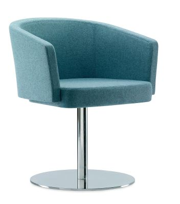 Zone A Reception Chair In Pale Blue Fabric On A Silver Swivel Base