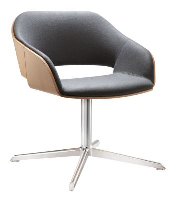 Halo Designer Grey Seat With Four Star Base And Beech Wooden Shell