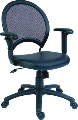 Sirocco Executive Chair With Mesh Round Back And Black Leather Seat