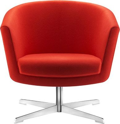 Kala Swivel Break Out Chair With Red Upholstery And Chrome Base