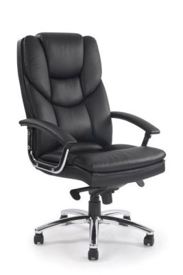 Skyco Black Leather Managers Chair With Padded Seat, Back And Armrests And Stitching Detail