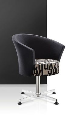 Bobbin Stylish Reception Chair With Black And Printed Fabric On Fixed Chrome Base
