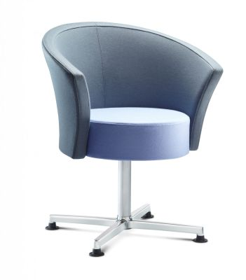 Bobbin Designer Reception Chair In Blue And Grey Fabric