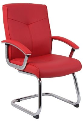 El Diablo Red Leather Cantilever Visitor Chair With Armrests