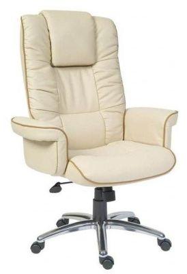 Santana Soft Feel Cream Leather Executive Chair With Chrome Base And Castors