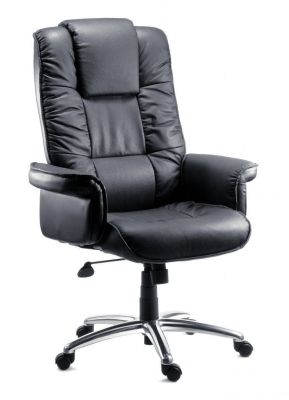 Santana Black Leather Executive Reclining Chair With Gull Wing Arms