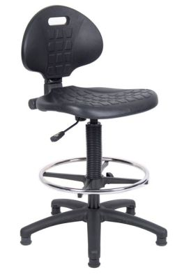 Prema Polyurethane Draughtsmans Chair With Chrome Foot Ring And Gas Lift Adjuster