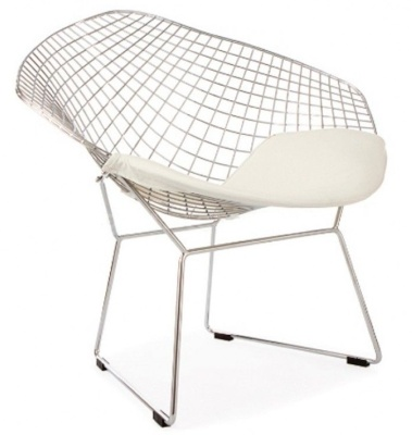 Harry Bertoia Diamond Chair With A White Seat Cushion