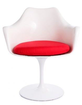 White Tulip Chair With A Red Cushion