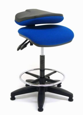 Daisy Till Operators Stool With Blue Fabric And Chrome Footrest