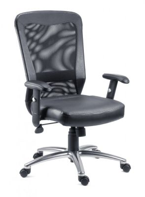 Trimell Black Mesh And Leather Operator Chair On Chrome Spider Base With Castors