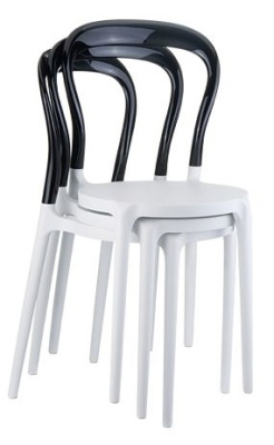 Mr Bobo Bistro Chair White Seat And Black Back Stacked