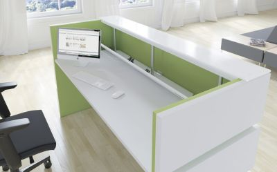 Rivereia Reception Desk Avocado Green Inlay Rear View