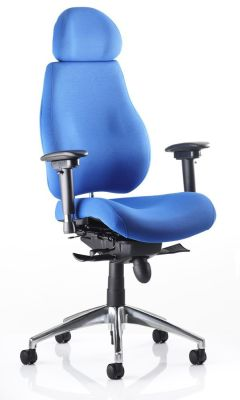 Chiro Plus Ergonomic Chair With Headrest Blue Fabric