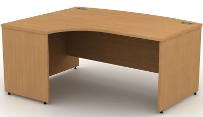 Avalon Left Hand Bow Front Corner Desk With Panel Sides