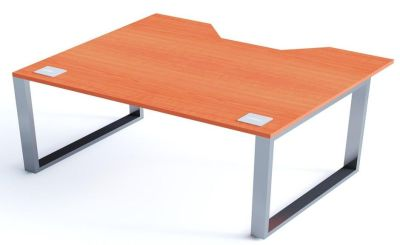 Avalon Plus Sliding Double Wave Bench Desk With A Champagne Top
