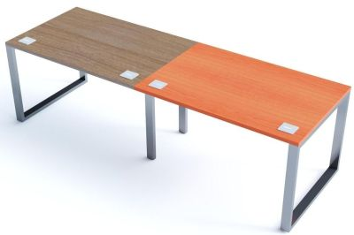 Avalon Plus Two Person Side By Side Bench With Sliding Walnut And Champagne Tops