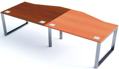 Avalon Plus Side By Side Two Person Wave Bench Desk With Sliding Walnut And Champagne Tops