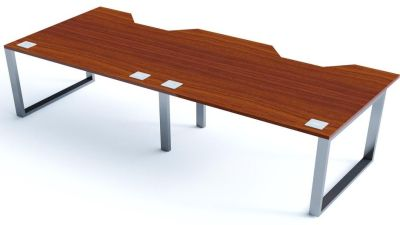 Avalon Plus Two Person Side By Side Double Wave Bench With Sliding Walnut Tops