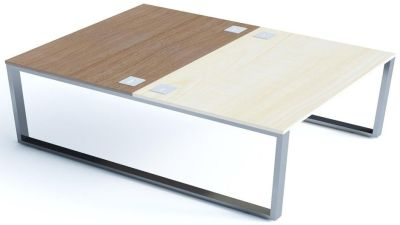 Avalon Plus Two Person Bench Desk With Sliding Ash And Walnut Tops