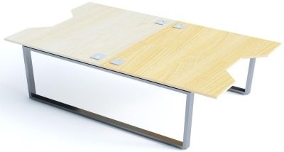 Avalon Plus Two Person Double Wave Bench Desk With Sliding Ash And Maple Tops