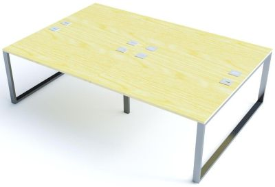 Avalon Plus Four Person Bench Desk With Maple Tops