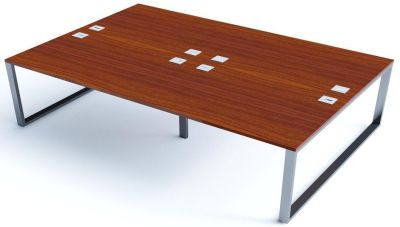 Avalon Plus Four Person Bench Desk With Sliding Walnut Tops