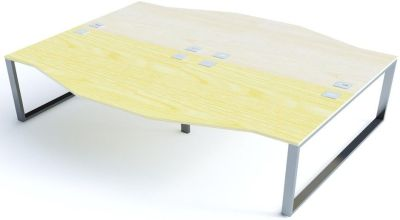 Avalon Four Person Wave Bench Desk With Sliding Ash And Maple Tops