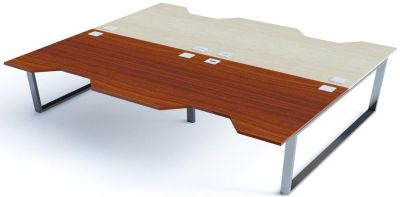 Avalon Plus Four Person Double Wave Desks With Walnut And Light Oak Tops