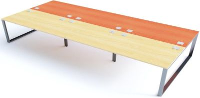 Avalon Six Person Bench Desk With Sliding Maple And Champagne Tops