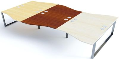 Avalon Plus Six Person Wave Bench Desk With Sliding Ash, Walnut And Maple Tops