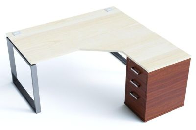 Avalon Plus Radial Bench Desk With An Ash Top And Walnut Pedestal