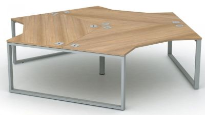 Avalon Plus Three Person Bench Desk In Santiago Cherry