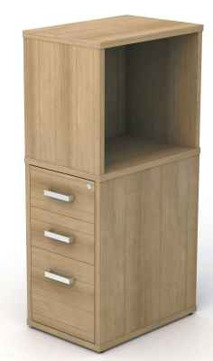 Avalon Plus 600mm Deep Desk Height Pedestal And Open Top Box In Santiago Cherry