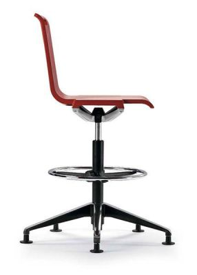 Mit Draughtsman Red Chair With Fixed Feet And Foot Rest