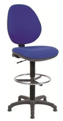 Byron Draughtsman Seat With Blue Fabric And Chrome Foot Ring
