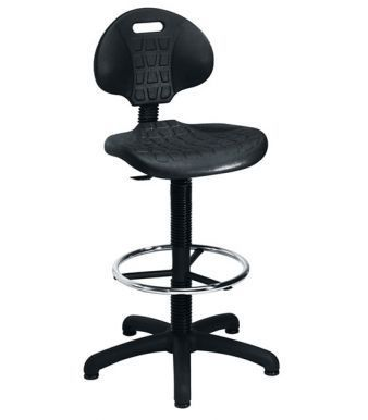 Factory Comercial High Rise Black Contoured Chair With Foot Ring And Fixed Base