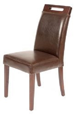 Rumwell Dark Brown Leather Dining Chair